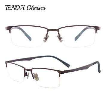 Metal Half Rim Spectacles Flexible Eyeglasses Fashion Myopia Prescription Glasses Men Eyewear