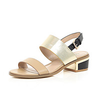 River Island Womens Beige block heel sandals