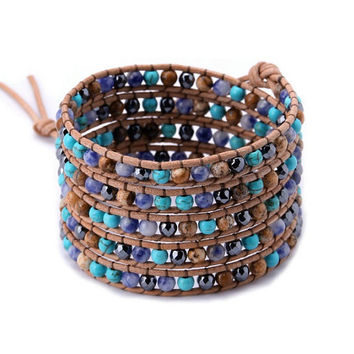 Leather wrap bracelets made with 2 mm natural mixed stone beaded 5 x wrap is adjustable