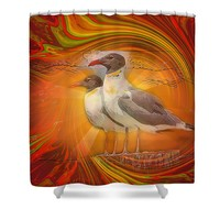 Gulls Caught In Art Life Shower Curtain