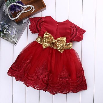 2017 New Baby girl clothes Princess Dress Clothes Short Sleeve Lace Bow Ball Gown Tutu Party Dress Toddler Kids Fancy Dress 0-7Y
