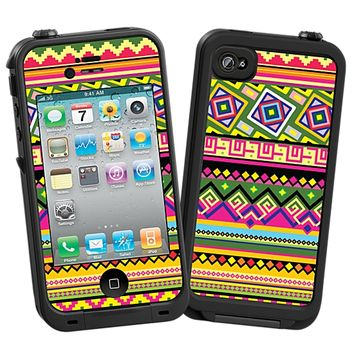Happy Bright Tribal Skin for the iPhone 4/4S Lifeproof Case by skinzy.com