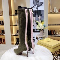 FENDI 2020 NEW Womens Trending brown Leather Zipper knight boot female Flats High Heels stretch-knit Shoes Winter Autumn