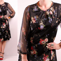 Vintage 60s 70s - Black Butterfly Floral Print - See Through Puffly Sleeves - Keyhole Collar - Short Dress