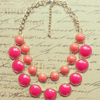 Hot Pink Kate Spade Statement Necklace- Bib Necklace-Bubble Bib-Summer Necklace-Bridesmaids Gift-