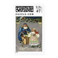 Victorian Santa Giving a Doll to a Girl Postage Stamp