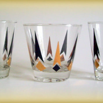 Vintage Mid Century Atomic Barware Gles Black And Gold Set Of 3 Anchor Hocking Golden Peaks