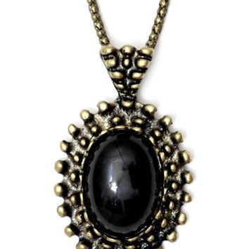 Black Oval Bead Necklace Victorian Gold Tone NI17 Antique Gem Goth Vintage Pendant Fashion Jewelry
