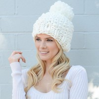 White Large Loop Knit Pom Pom Hat
