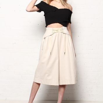 Tied Up Highwaist Corset Culotte Pant