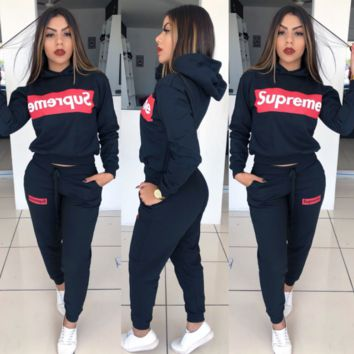 Supreme Adidas Casual Print Hoodie Top Sweater Pants Trousers Set Two-piece High quality Sportswear