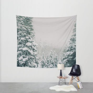 Snow Tapestry, Forest Wall Tapestry, Forest Tapestry, Winter Decor, Cabin Decor, Scenic Tapestry, Nature Wall Tapestry, Colorado Tapestry
