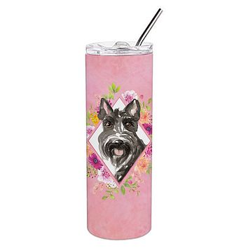 Scottish Terrier Pink Flowers Double Walled Stainless Steel 20 oz Skinny Tumbler CK4214TBL20