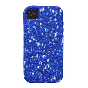Pretty Royal Blue Sparkly Faux Glitter Look iPhone 4/4S Cover