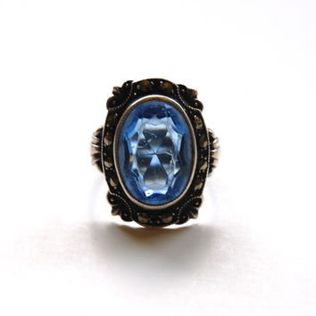 Vintage Art Deco Ring, Blue Stone With Marcasites, Signed Uncas Sterling
