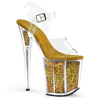 "Flamingo 808GF Gold Hologram Glitter Platform Sandal Shoe  8"" High Heels"