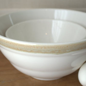 Ironstone Mixing Bowl, Pfaltzgraff Stoneware Nesting Bowls, Brown Aura Dishes