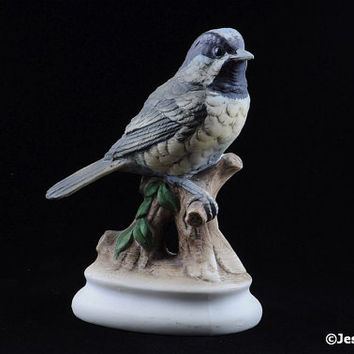 Vintage Lefton Bird Figurine Chickadee Lefton China Figurine KW4206 Hand Painted