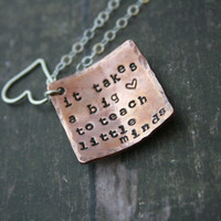 Teachers necklace gift//persoanlized//It takes a big heart to teach little minds//