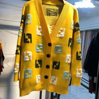 FENDI New Fashionable Women Casual Double F Letter Knit Long Sleeve V Collar Cardigan Jacket Coat Yellow