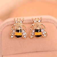 Rhinestone Bumble Bee Earrings