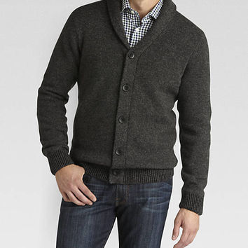 Pronto Blue Shawl-Collar Modern Fit Cardigan Sweater, Charcoal - Modern Fit | Men's Wearhouse