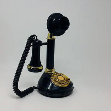 Non Working Vintage Black Candle Stick Rotary Phone Mid Century Reproduction