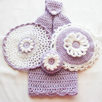Lavender Crochet Kitchen Set - Hanging Cotton Dish Towel - Lace Washcloth - Daisy Potholder - Reversible Dish Scrubbie