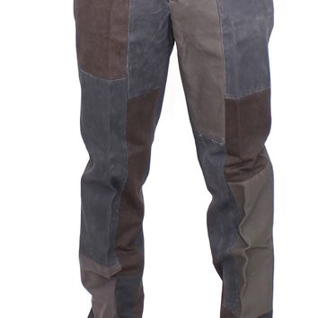 Dolce & Gabbana Brown Gray Patchwork Slimfit Pants Chinos