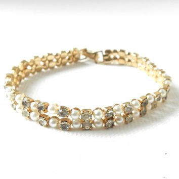 Vintage Kramer Tennis Bracelet with Rhinestones and Faux Pearl, Vintage Jewelry, High End, Designer Signed