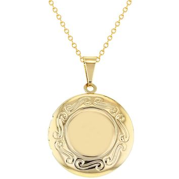 Gold Tone Round Family Photo Locket Remembrance Women's Pendant Necklace 19""