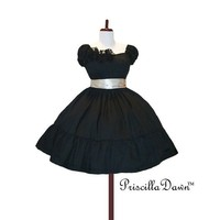 Little Black n Cream Gothic Puff Sleeve Party by priscilladawn
