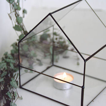 NEW Glass house terrarium - Petite - Geometric terrarium - Indoor garden - Candle holder - Stained glass - Gift for Him - Desk - Copper