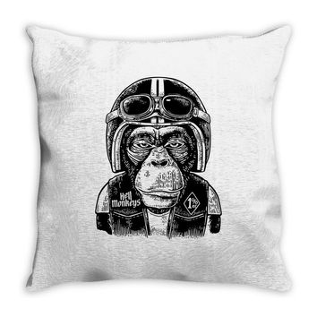 monkey in the motorcycle Throw Pillow