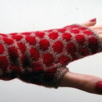 Fingerless Gloves With Polka Dots - Beige and Red Fingerless Gloves- Fashion Gloves - Winter Accesories - Womens Gloves nO 5.