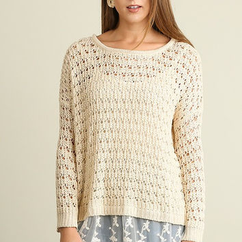 Lace Detail Knit Sweater - Oatmeal