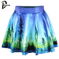 DayLook 2017 Spring New Style Starry Night Print Pleated Skirt Vintage Oil Painting Tie-Dye Harajuku Saia Tutu Mini Skirts Women