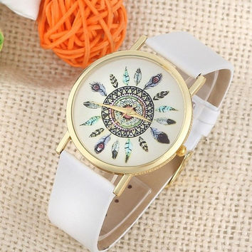 Womens Vintage Feather Dial Leather Band Quartz Analog Unique Wrist Watches = 1956412932