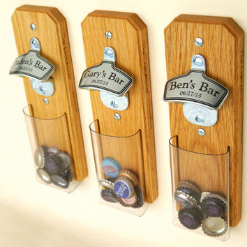 Bottle Cap Catcher Groomsmen Gifts, 1 Personalized Groomsman Gift, Custom Wall-Mounted Bottle Opener, Beer Groomsmen Gifts