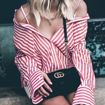 Sexy Striped Loose Long-Sleeved Shirt Top