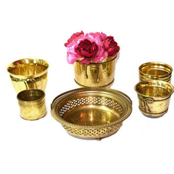 Brass Planters Brass Containers Lot of Brass Planters Wedding Decor Wedding Decorations - Set of 6