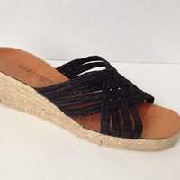 Andre Assous Shoes Womens Size 9 Black Espadrille Wedge Sandals Weave Strappy