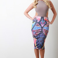 Abstract Floral High Waist Pencil Skirt