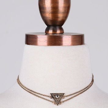 Tribal Inspired Geo Pendant Choker Necklace - Antiqued Gold or Antiqued Silver