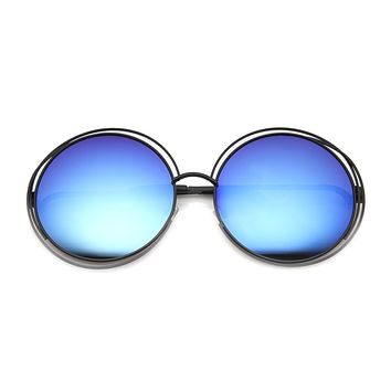 Women's Fashion Retro Dual Metal Round Mirror Lens Sunglasses 9767