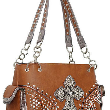 Cross Leather Designer Fashion Silver Bling Western Stitch Rhinestone Stud Trendy Chain Purse Handbag Brown Tan