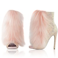 "Nelly Bestie Open Toe Ankle Boot Vegan Fur & Glitter Booties - 4.75"" Heels Pink Blush"