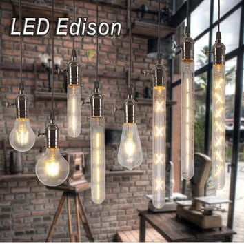 220V 2W-6W Vintage LED Filament Edison Bulb E27 E14 decorative light bulb retro lamp Glass Bulb Candle Lights Energy Saving Lamp