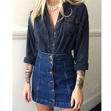 Denim Skirts High Waist
