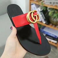 Gucci Fashion Women Casual GG Metal Buckle Sandal Slipper Shoes Flip-Flops Red I-ALS-XZ